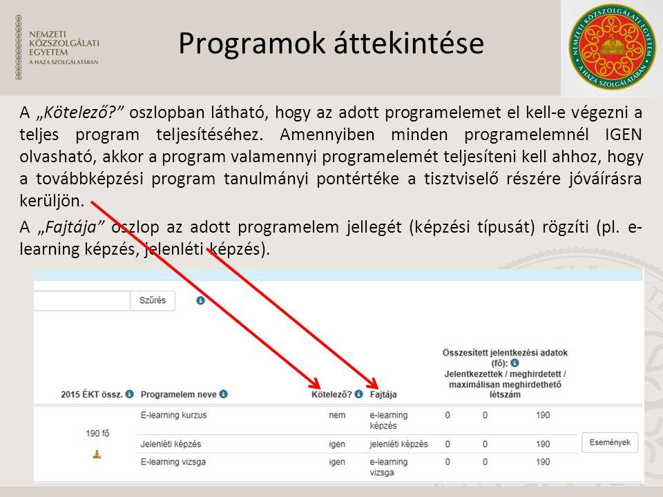"""Programok áttekintése A """"Kötelező?"""" oszlopban látható, hogy az adott programelemet el kell-e végezni a teljes program teljesítéséhez. Amennyiben minde"""