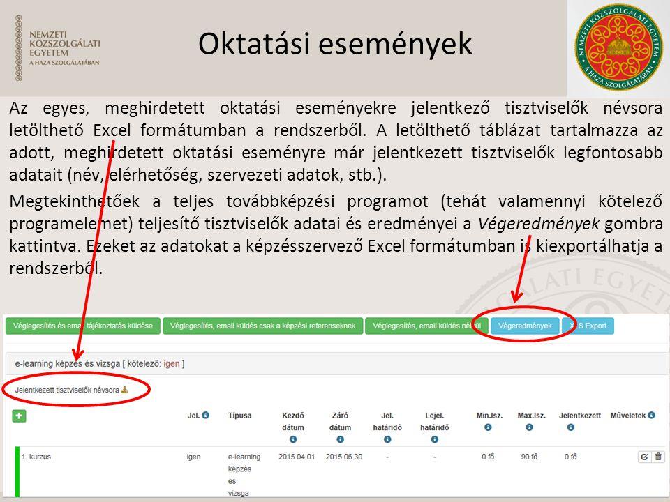 Oktatási események Az egyes, meghirdetett oktatási eseményekre jelentkező tisztviselők névsora letölthető Excel formátumban a rendszerből. A letölthet