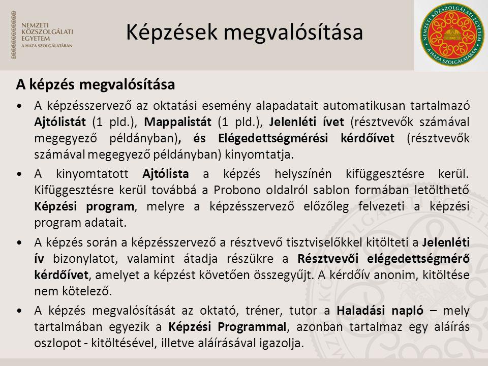 Képzések megvalósítása A képzés megvalósítása A képzésszervező az oktatási esemény alapadatait automatikusan tartalmazó Ajtólistát (1 pld.), Mappalist
