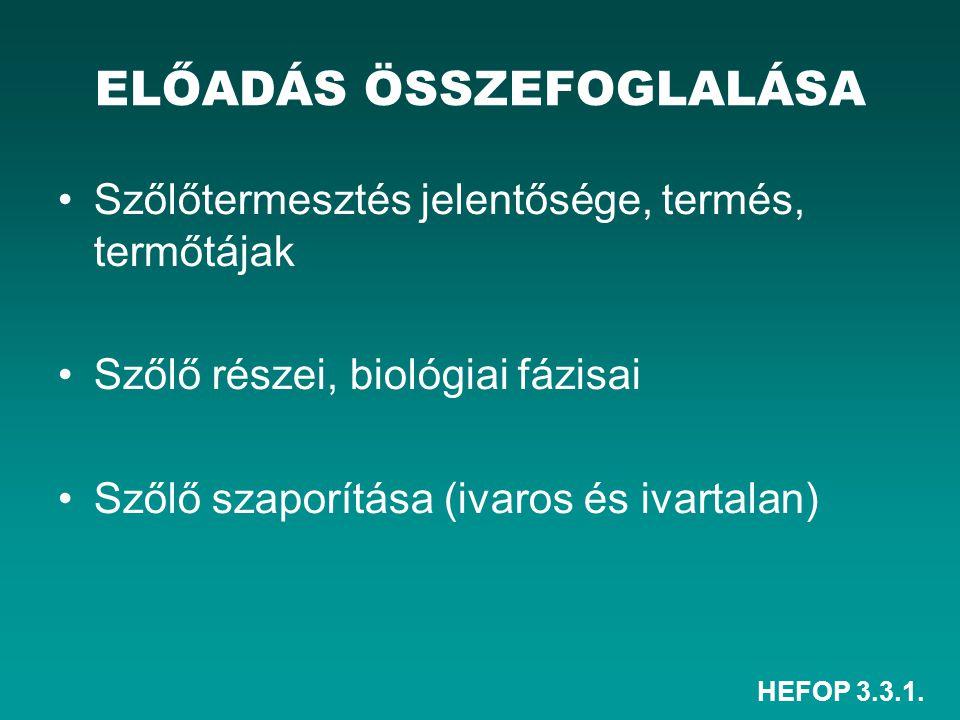 HEFOP 3.3.1. ELŐADÁS ÖSSZEFOGLALÁSA Szőlőtermesztés jelentősége, termés, termőtájak Szőlő részei, biológiai fázisai Szőlő szaporítása (ivaros és ivart