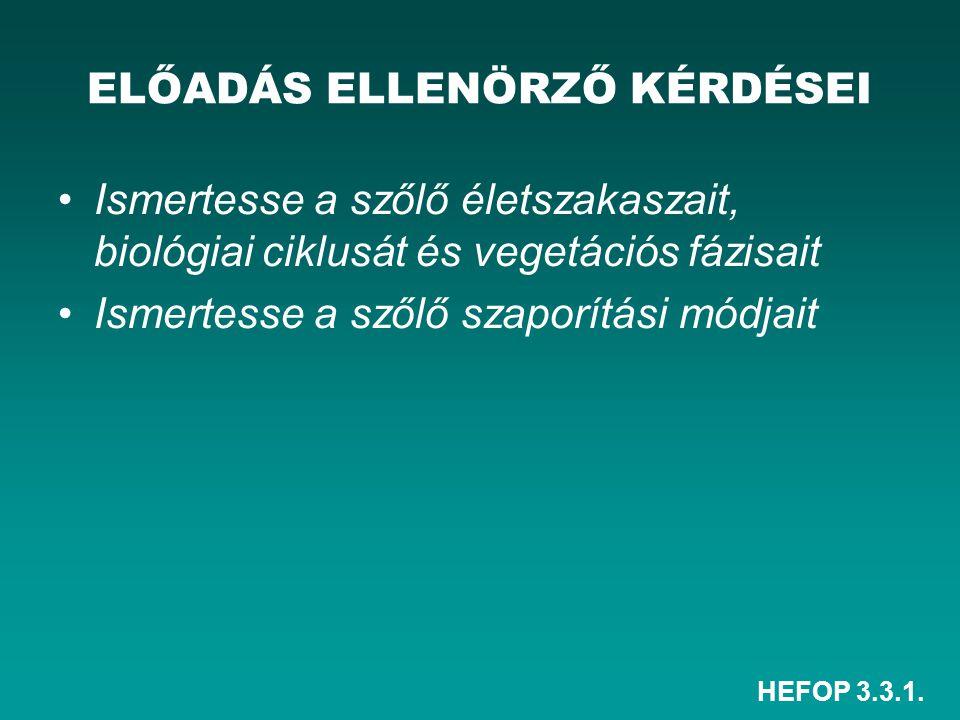 HEFOP 3.3.1. ELŐADÁS ELLENÖRZŐ KÉRDÉSEI Ismertesse a szőlő életszakaszait, biológiai ciklusát és vegetációs fázisait Ismertesse a szőlő szaporítási mó