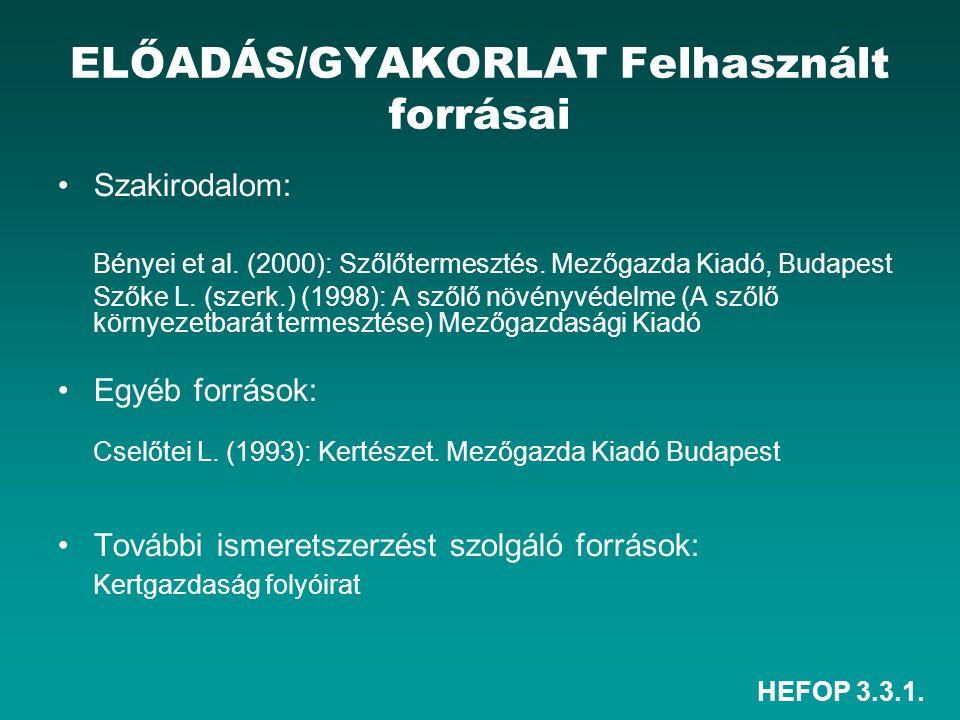 HEFOP 3.3.1.ELŐADÁS/GYAKORLAT Felhasznált forrásai Szakirodalom: Bényei et al.