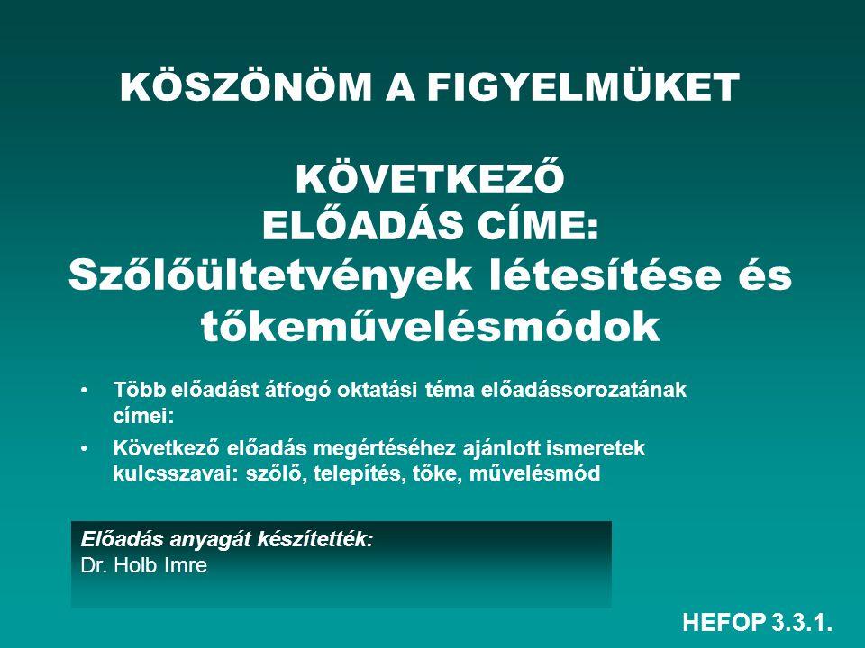 HEFOP 3.3.1. Előadás anyagát készítették: Dr. Holb Imre KÖSZÖNÖM A FIGYELMÜKET KÖVETKEZŐ ELŐADÁS CÍME: Szőlőültetvények létesítése és tőkeművelésmódok
