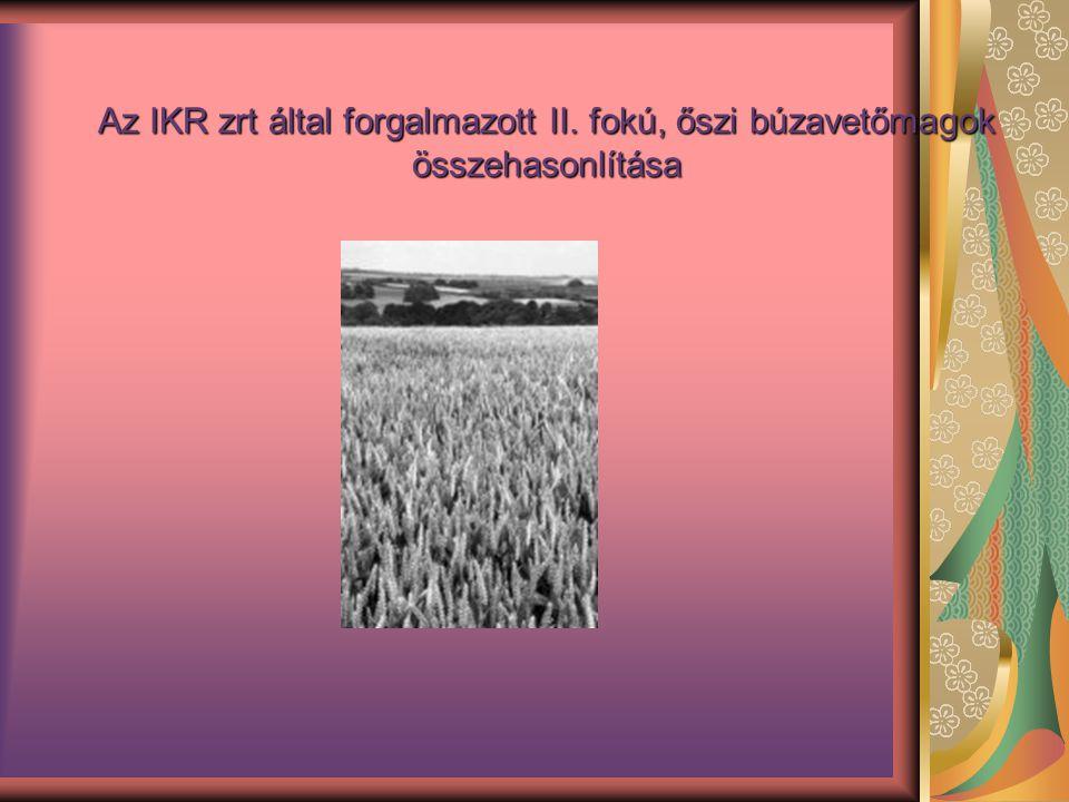 Az IKR zrt által forgalmazott II. fokú, őszi búzavetőmagok összehasonlítása