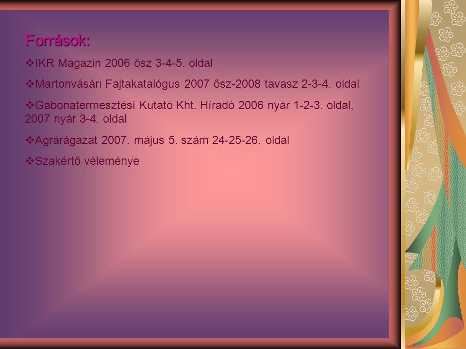 Források:  IKR Magazin 2006 ősz 3-4-5. oldal  Martonvásári Fajtakatalógus 2007 ősz-2008 tavasz 2-3-4. oldal  Gabonatermesztési Kutató Kht. Híradó 2
