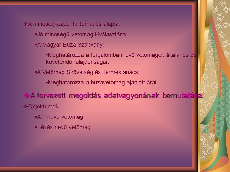  A minőségközpontú termelés alapja:  Jó minőségű vetőmag kiválasztása  A Magyar Búza Szabvány: Meghatározza a forgalomban levő vetőmagok általános
