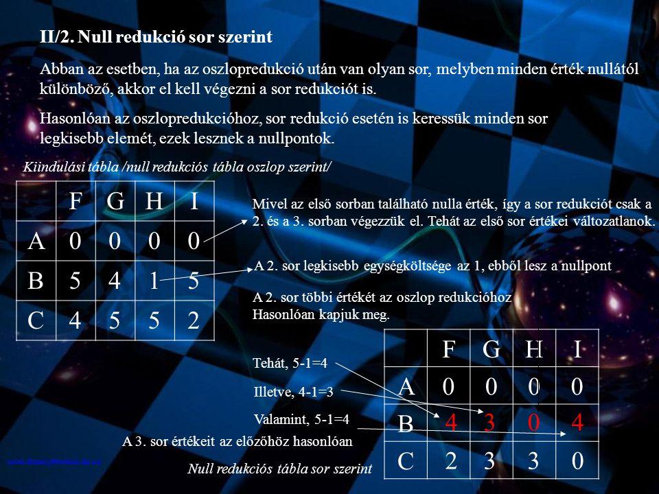 II/3.A szállítási mennyiségek szétosztásánál a sor redukciós táblát vesszük alapul.