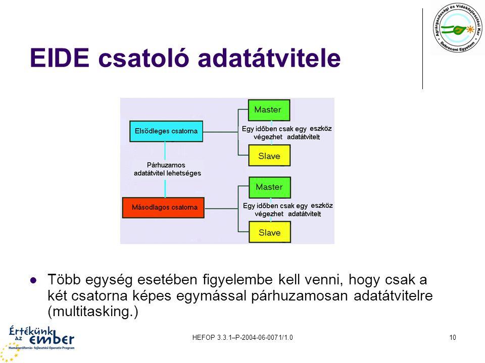 HEFOP 3.3.1–P-2004-06-0071/1.010 EIDE csatoló adatátvitele Több egység esetében figyelembe kell venni, hogy csak a két csatorna képes egymással párhuzamosan adatátvitelre (multitasking.)