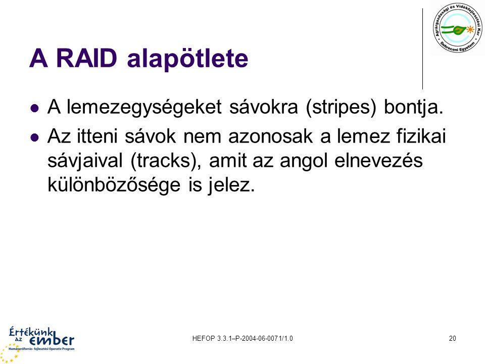 HEFOP 3.3.1–P-2004-06-0071/1.020 A RAID alapötlete A lemezegységeket sávokra (stripes) bontja. Az itteni sávok nem azonosak a lemez fizikai sávjaival
