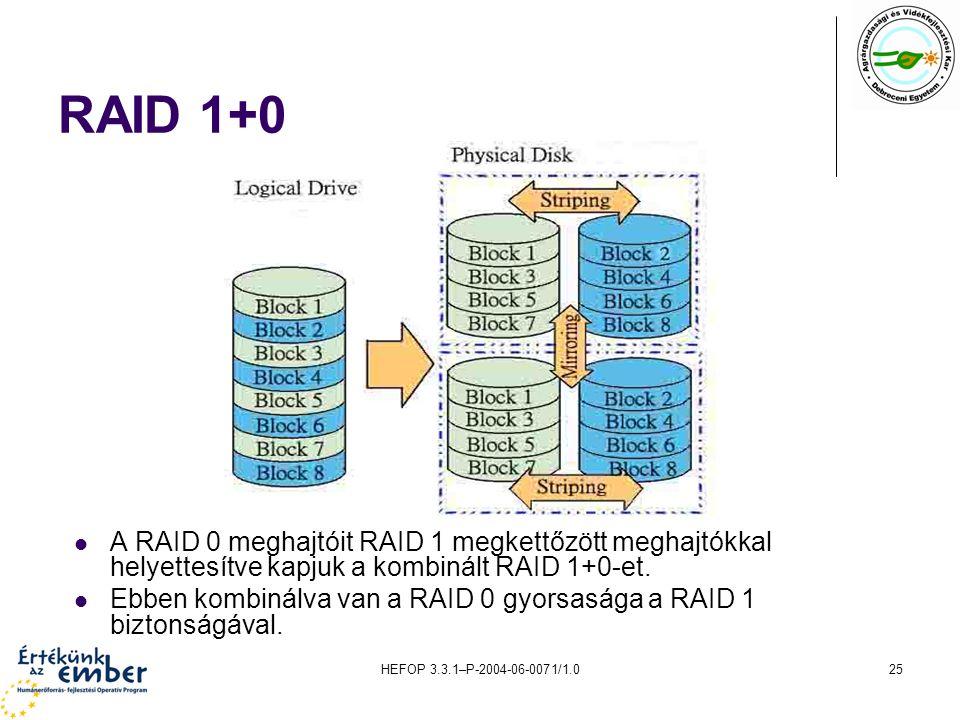 HEFOP 3.3.1–P-2004-06-0071/1.025 RAID 1+0 A RAID 0 meghajtóit RAID 1 megkettőzött meghajtókkal helyettesítve kapjuk a kombinált RAID 1+0-et.