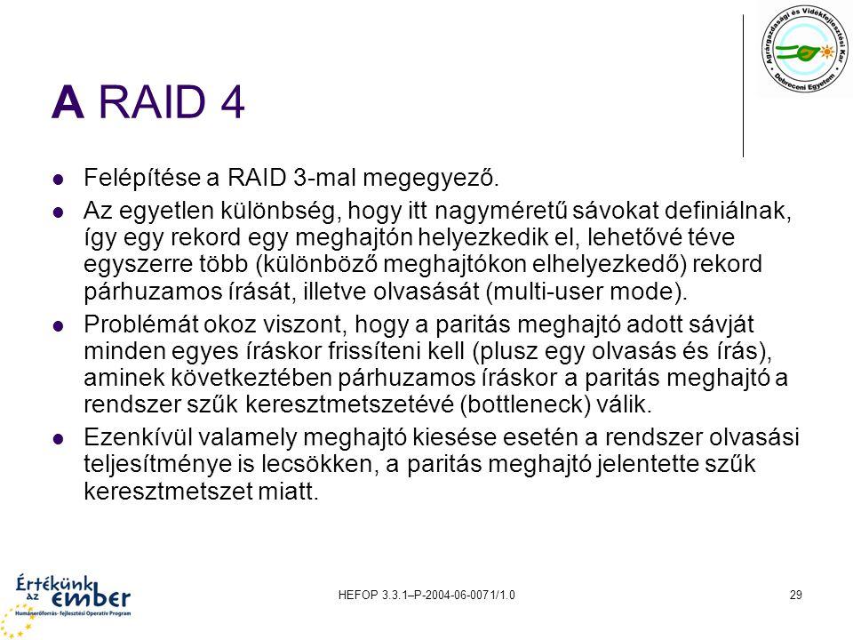 HEFOP 3.3.1–P-2004-06-0071/1.029 A RAID 4 Felépítése a RAID 3-mal megegyező. Az egyetlen különbség, hogy itt nagyméretű sávokat definiálnak, így egy r