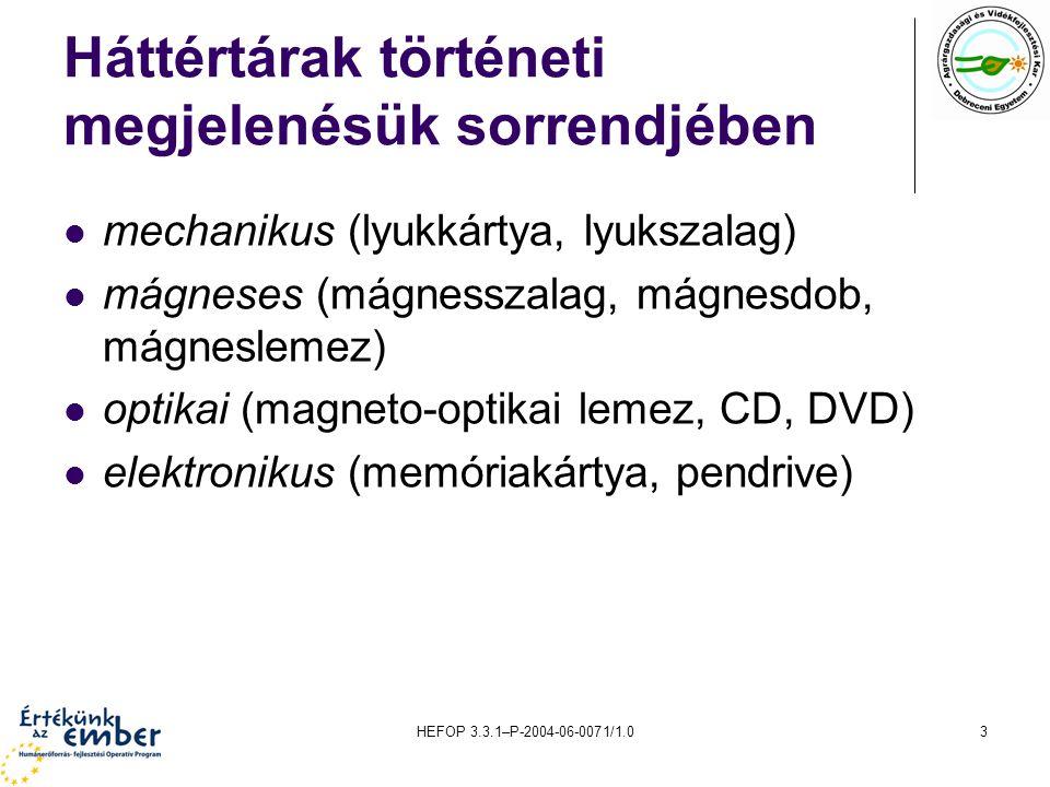 HEFOP 3.3.1–P-2004-06-0071/1.03 Háttértárak történeti megjelenésük sorrendjében mechanikus (lyukkártya, lyukszalag) mágneses (mágnesszalag, mágnesdob, mágneslemez) optikai (magneto-optikai lemez, CD, DVD) elektronikus (memóriakártya, pendrive)