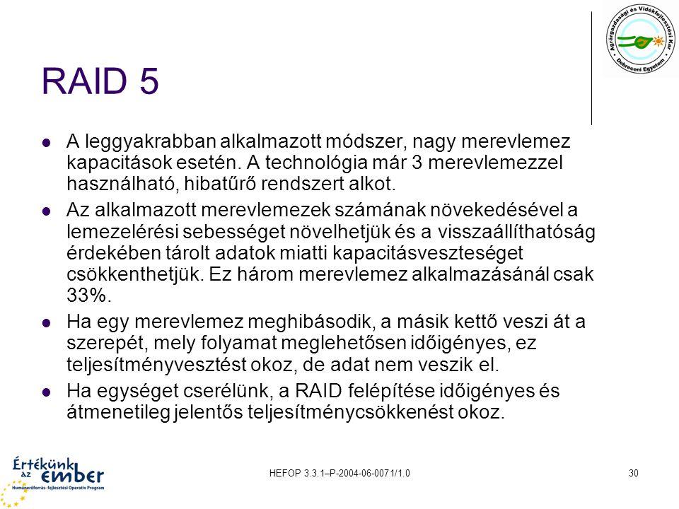 HEFOP 3.3.1–P-2004-06-0071/1.030 RAID 5 A leggyakrabban alkalmazott módszer, nagy merevlemez kapacitások esetén. A technológia már 3 merevlemezzel has