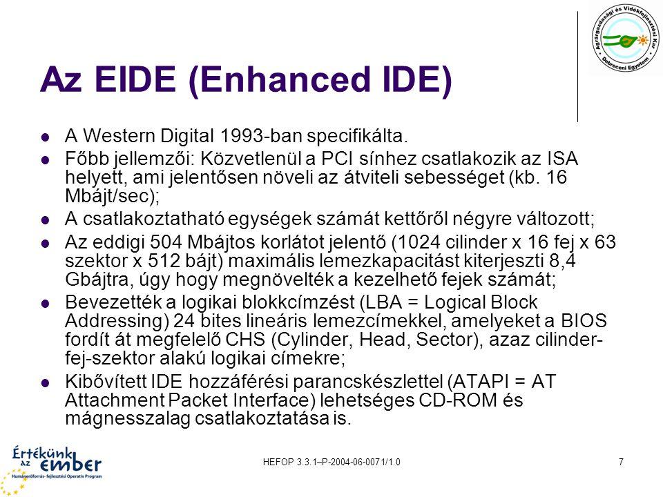 HEFOP 3.3.1–P-2004-06-0071/1.07 Az EIDE (Enhanced IDE) A Western Digital 1993-ban specifikálta. Főbb jellemzői: Közvetlenül a PCI sínhez csatlakozik a