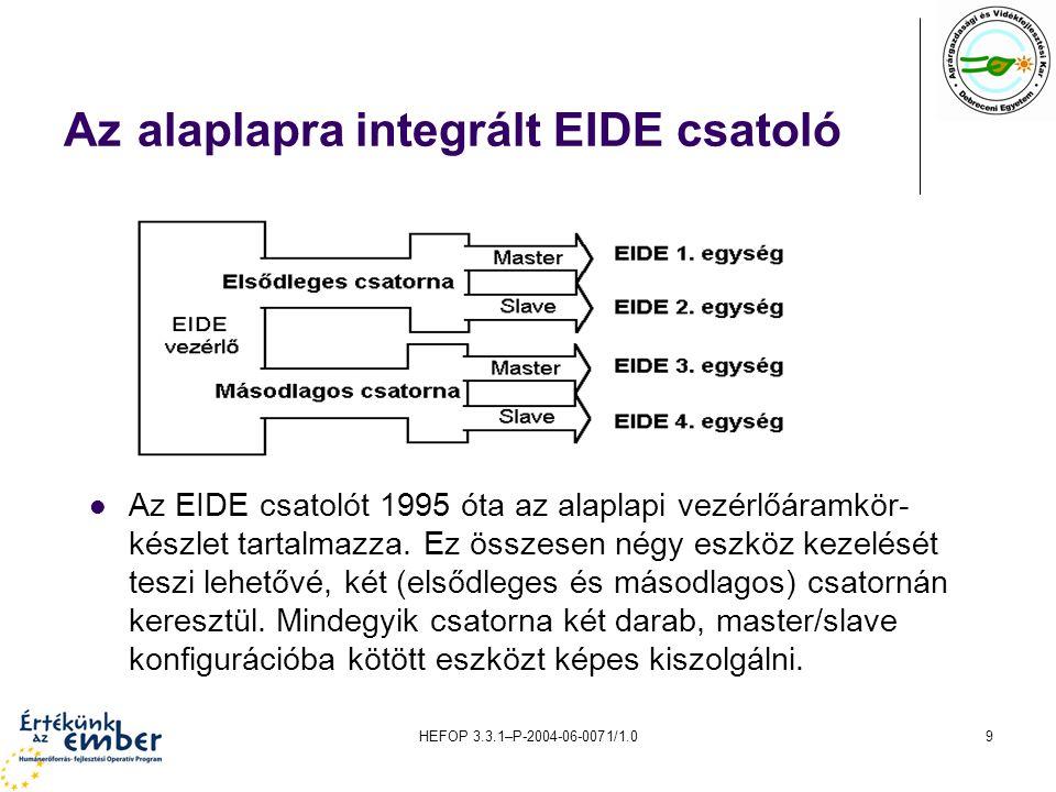 HEFOP 3.3.1–P-2004-06-0071/1.09 Az alaplapra integrált EIDE csatoló Az EIDE csatolót 1995 óta az alaplapi vezérlőáramkör- készlet tartalmazza.