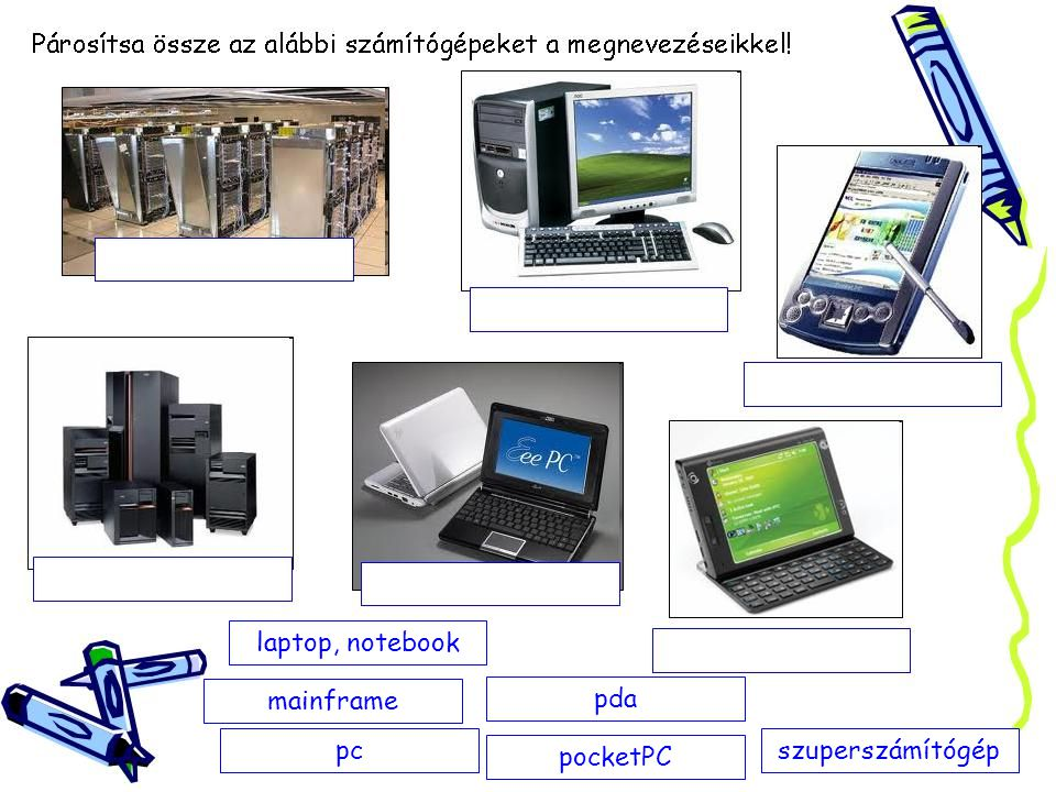 szuperszámítógéppc pda pocketPC laptop, notebook mainframe