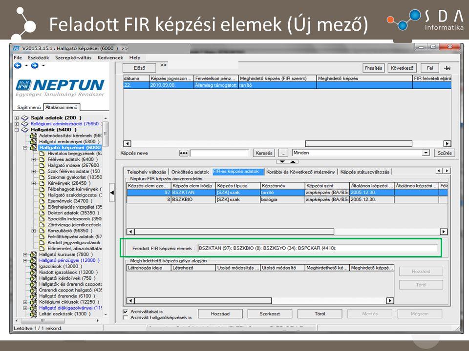 Feladott FIR képzési elemek (Új mező)