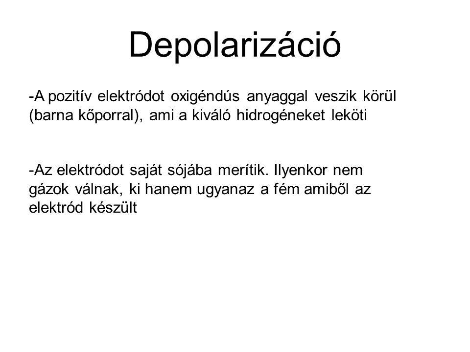 Depolarizáció -A pozitív elektródot oxigéndús anyaggal veszik körül (barna kőporral), ami a kiváló hidrogéneket leköti -Az elektródot saját sójába mer