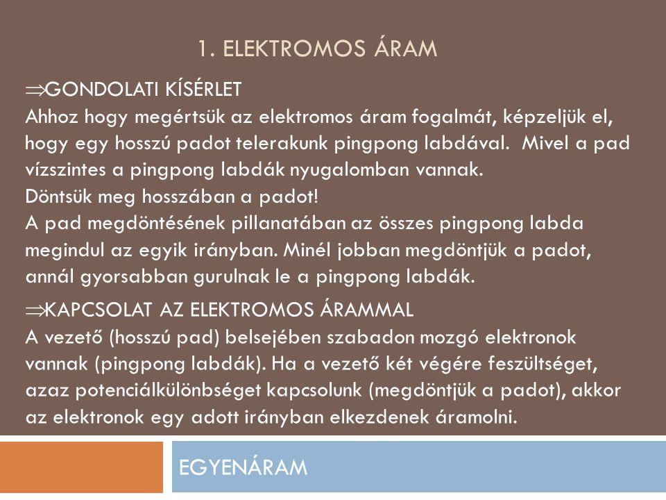 1. ELEKTROMOS ÁRAM EGYENÁRAM  GONDOLATI KÍSÉRLET Ahhoz hogy megértsük az elektromos áram fogalmát, képzeljük el, hogy egy hosszú padot telerakunk pin