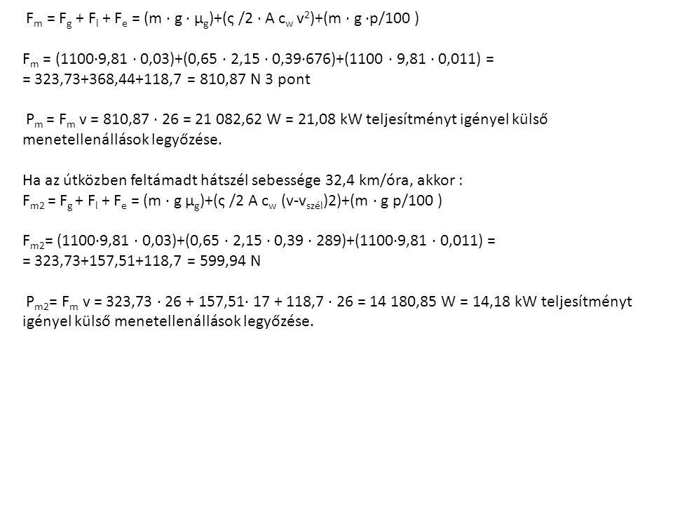 F m = F g + F l + F e = (m · g · µ g )+(ς /2 · A c w v 2 )+(m · g ·p/100 ) F m = (1100·9,81 · 0,03)+(0,65 · 2,15 · 0,39·676)+(1100 · 9,81 · 0,011) = = 323,73+368,44+118,7 = 810,87 N 3 pont P m = F m v = 810,87 · 26 = 21 082,62 W = 21,08 kW teljesítményt igényel külső menetellenállások legyőzése.