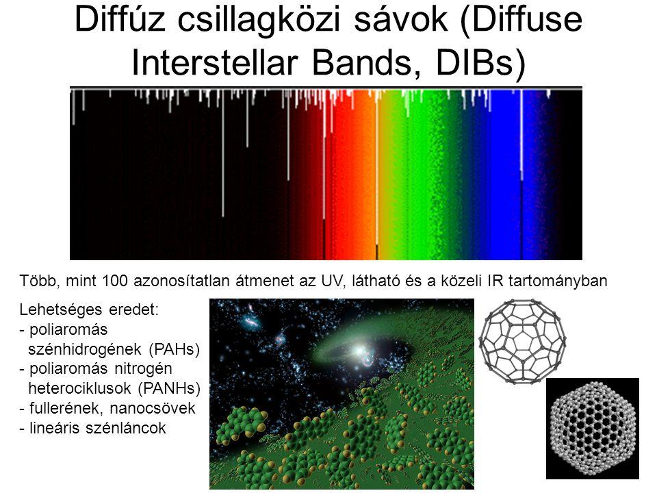 Diffúz csillagközi sávok (Diffuse Interstellar Bands, DIBs) Több, mint 100 azonosítatlan átmenet az UV, látható és a közeli IR tartományban Lehetséges