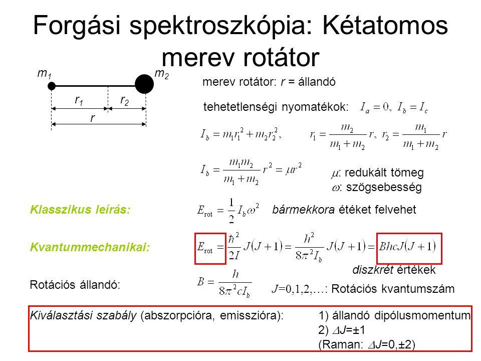 Forgási spektroszkópia: Kétatomos merev rotátor Energia B=1,9225 cm  1  r = 1,13 Å A CO forgási spektrumának részlete hullámszám /cm  1 T%T% J=9←8 J=4←3 J=5←4 J=6←5 J=7←6 J=8←7