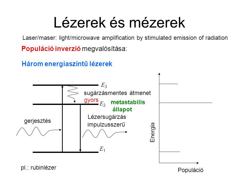 Lézerek és mézerek Populáció inverzió megvalósítása: Három energiaszintű lézerek E1E1 E2E2 gerjesztés Lézersugárzás sugárzásmentes átmenet E3E3 Energi
