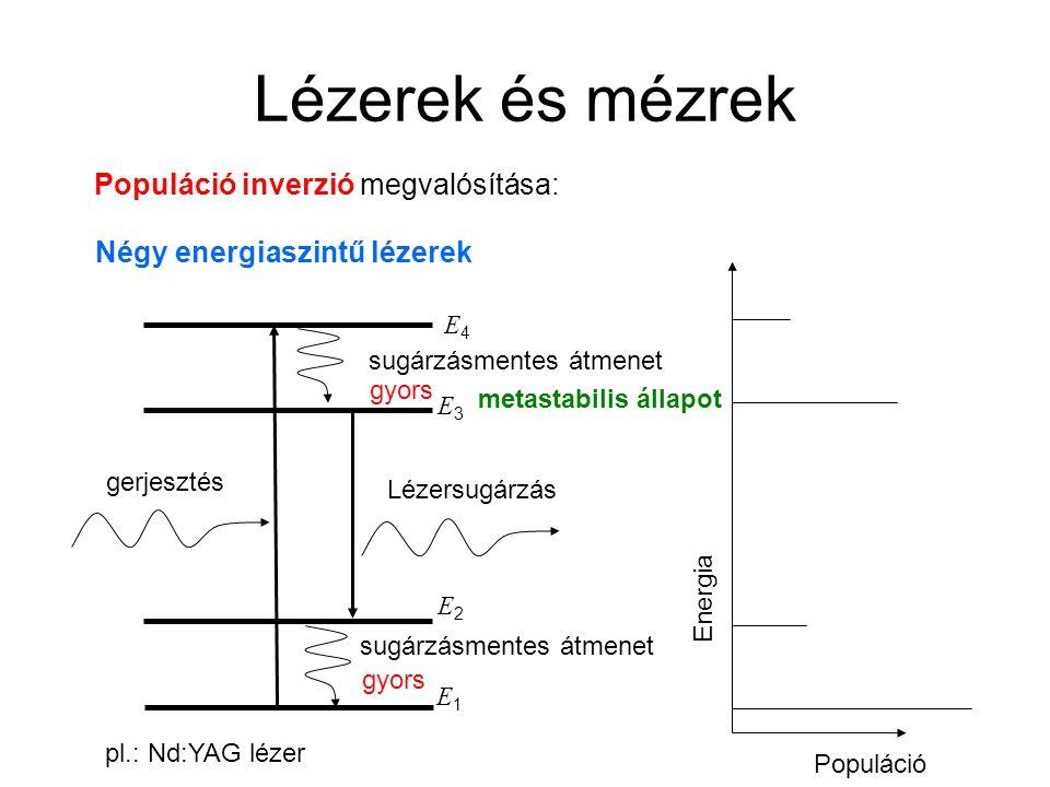 Lézerek és mézrek Populáció inverzió megvalósítása: Négy energiaszintű lézerek E2E2 E3E3 gerjesztés Lézersugárzás sugárzásmentes átmenet E4E4 Energia