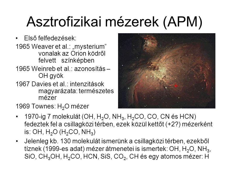 Asztrofizikai mézerek (APM) 1970-ig 7 molekulát (OH, H 2 O, NH 3, H 2 CO, CO, CN és HCN) fedeztek fel a csillagközi térben, ezek közül kettőt (+2?) mé