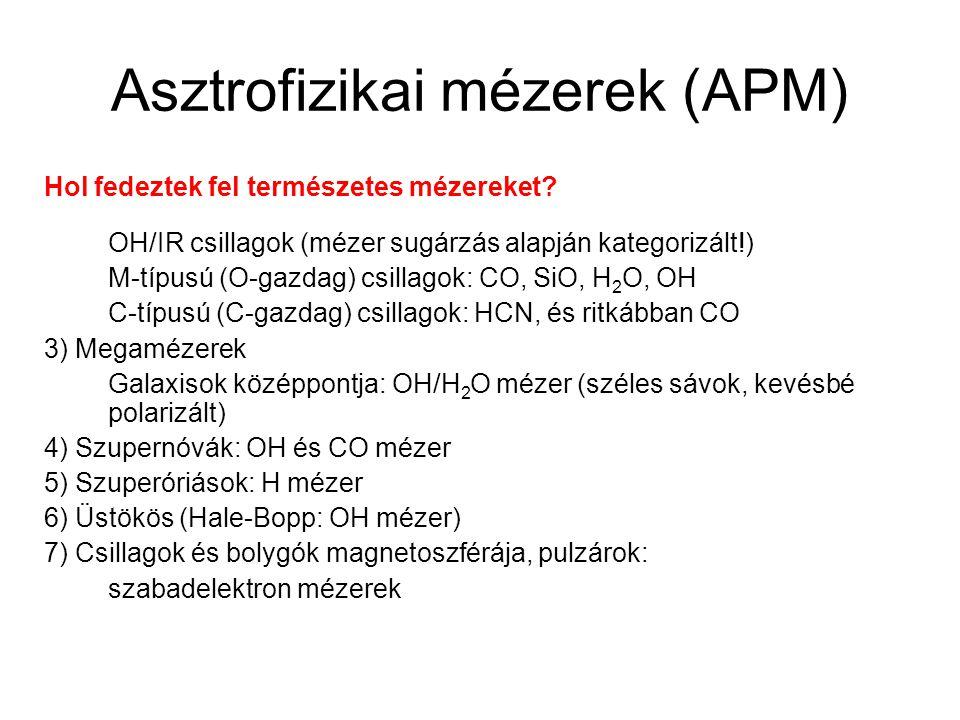Asztrofizikai mézerek (APM) Hol fedeztek fel természetes mézereket? OH/IR csillagok (mézer sugárzás alapján kategorizált!) M-típusú (O-gazdag) csillag