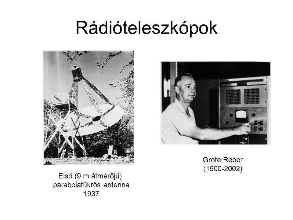 Rádióteleszkópok Első (9 m átmérőjű) parabolatükrös antenna 1937 Grote Reber (1900-2002)