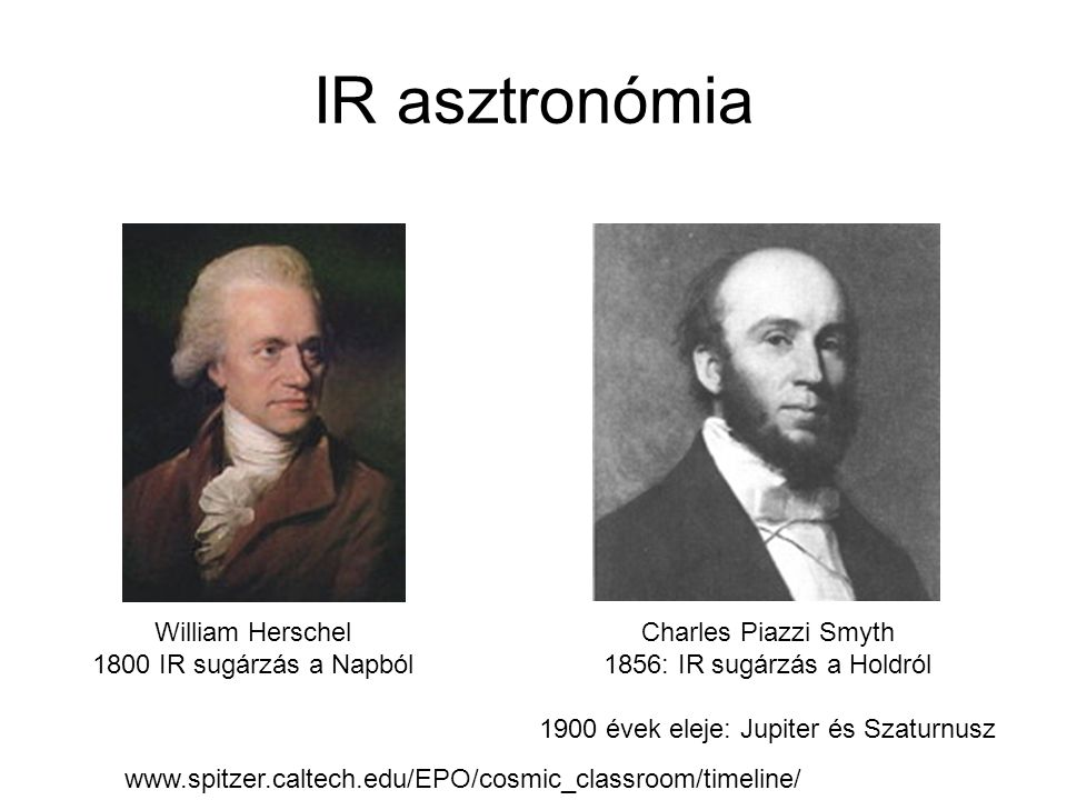 IR asztronómia Charles Piazzi Smyth 1856: IR sugárzás a Holdról 1900 évek eleje: Jupiter és Szaturnusz William Herschel 1800 IR sugárzás a Napból www.