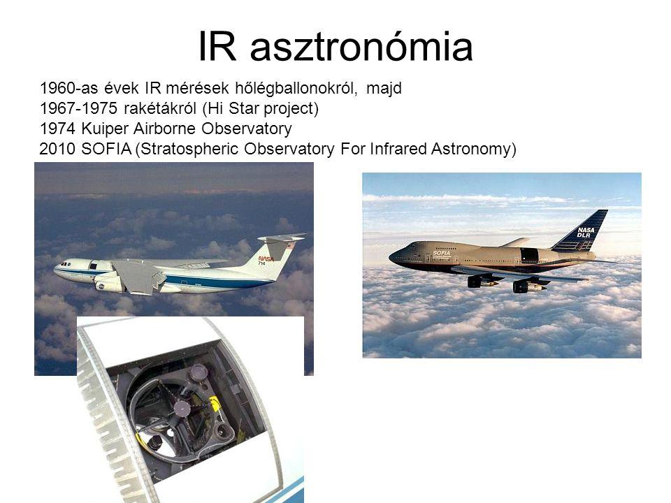 IR asztronómia 1960-as évek IR mérések hőlégballonokról, majd 1967-1975 rakétákról (Hi Star project) 1974 Kuiper Airborne Observatory 2010 SOFIA (Stra