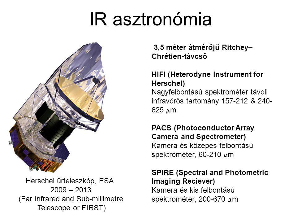 IR asztronómia Herschel űrteleszkóp, ESA 2009 – 2013 (Far Infrared and Sub-millimetre Telescope or FIRST) 3,5 méter átmérőjű Ritchey– Chrétien-távcső