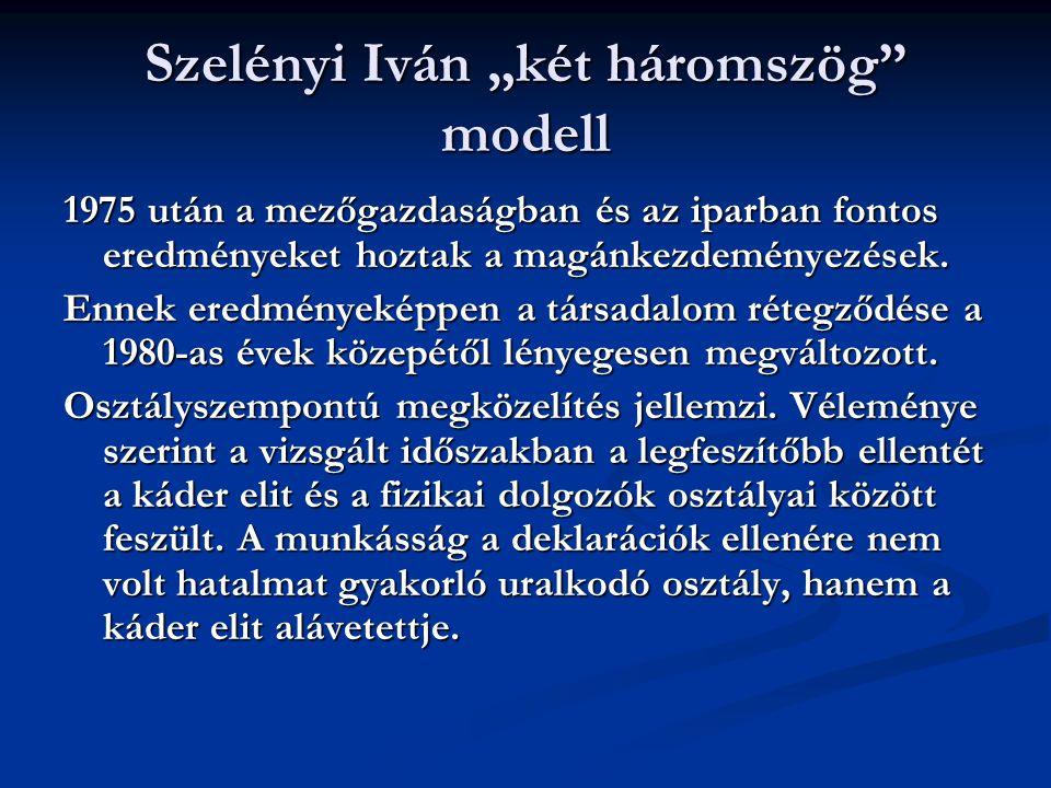 Kolosi és Szelényi modell Hazánkban a gazdaság társadalomszerkezetét kétféle integráció alakította a hetvenes évektől: - A bürokratikus-redisztributív - Piaci Mindketten pozitív fejleménynek tartották a piaci integráció megjelenését, s a fejlődést ennek bővülésétől várták.