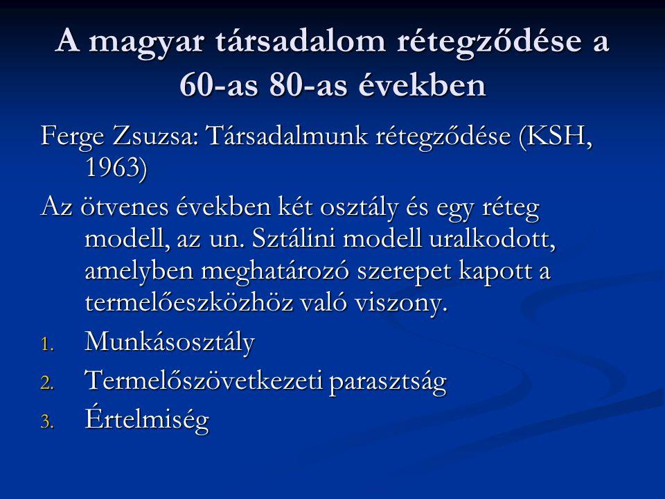 A magyar társadalom rétegződése a 60-as 80-as években Ferge Zsuzsa: Társadalmunk rétegződése (KSH, 1963) Az ötvenes években két osztály és egy réteg m