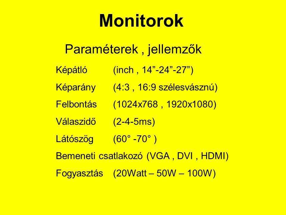 Paraméterek, jellemzők Képátló (inch, 14 -24 -27 ) Képarány (4:3, 16:9 szélesvásznú) Felbontás (1024x768, 1920x1080) Válaszidő (2-4-5ms) Látószög (60° -70° ) Bemeneti csatlakozó (VGA, DVI, HDMI) Fogyasztás (20Watt – 50W – 100W)