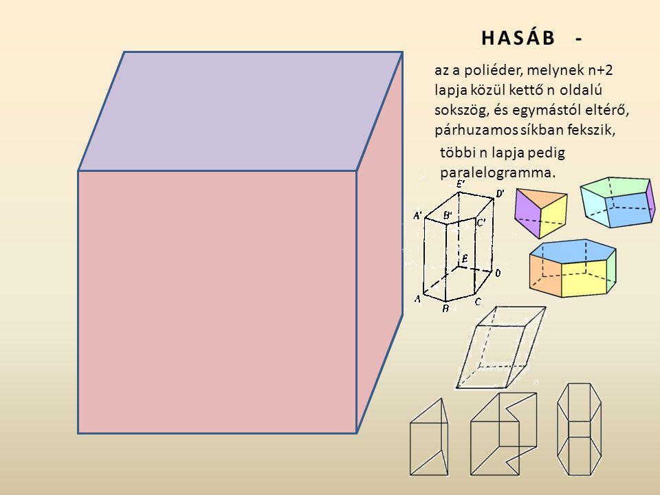 Alapélek – a,b Oldalélek c = H Alap vagy bázis Oldallapok – a palást részei Hasáb alkotói: A a a a a b b b b H H H H B C D E F G H Csúcsok - A,B,C,D,E,F,G,H
