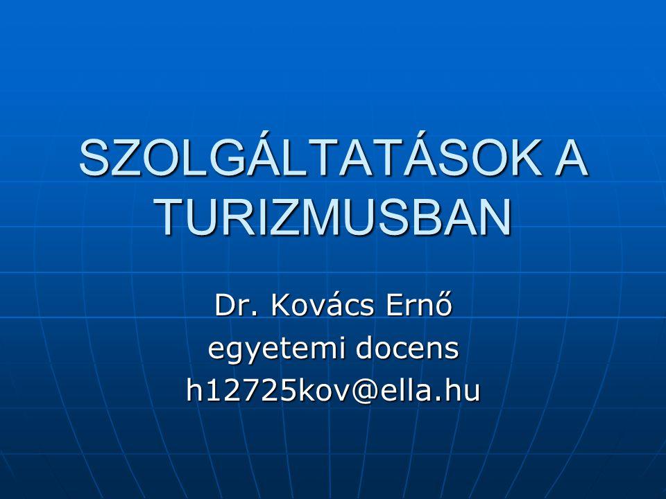 SZOLGÁLTATÁSOK A TURIZMUSBAN Dr. Kovács Ernő egyetemi docens h12725kov@ella.hu