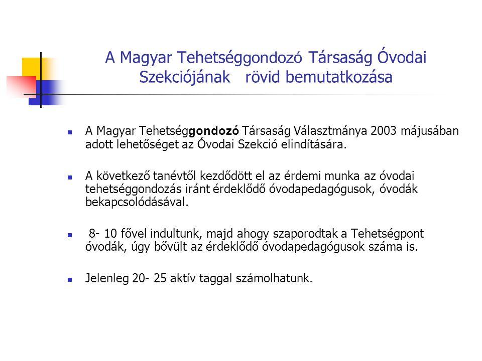 A Magyar Tehetség gondozó Társaság Óvodai Szekciójának rövid bemutatkozása FürkÉSZ Vetélkedő