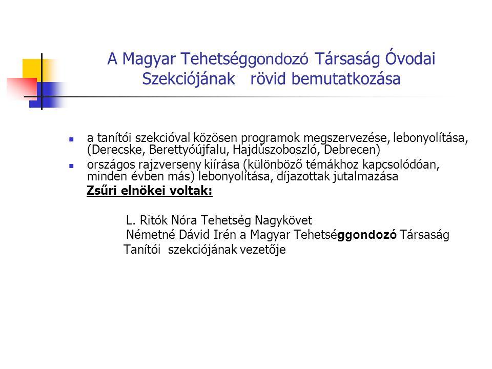 a tanítói szekcióval közösen programok megszervezése, lebonyolítása, (Derecske, Berettyóújfalu, Hajdúszoboszló, Debrecen) országos rajzverseny kiírása (különböző témákhoz kapcsolódóan, minden évben más) lebonyolítása, díjazottak jutalmazása Zsűri elnökei voltak: L.