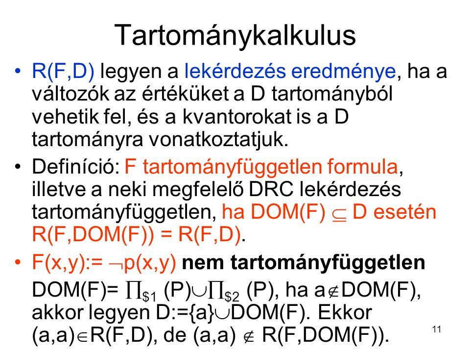 11 Tartománykalkulus R(F,D) legyen a lekérdezés eredménye, ha a változók az értéküket a D tartományból vehetik fel, és a kvantorokat is a D tartományra vonatkoztatjuk.