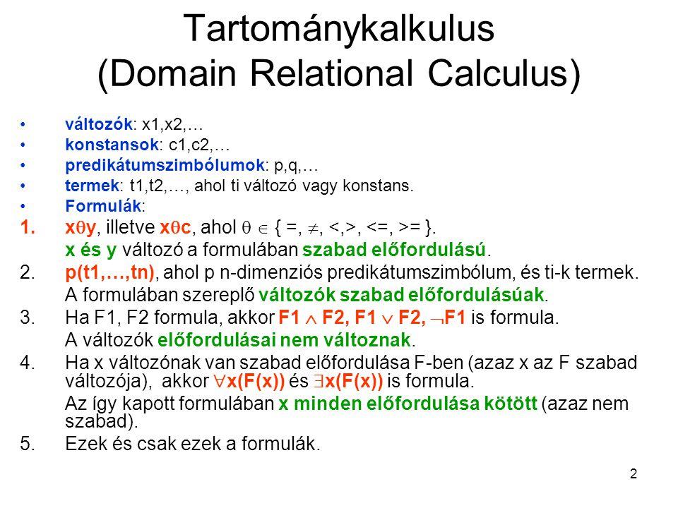 2 Tartománykalkulus (Domain Relational Calculus) változók: x1,x2,… konstansok: c1,c2,… predikátumszimbólumok: p,q,… termek: t1,t2,…, ahol ti változó vagy konstans.