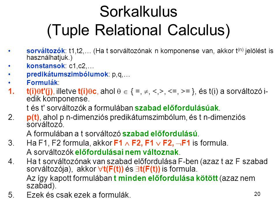 20 Sorkalkulus (Tuple Relational Calculus) sorváltozók: t1,t2,… (Ha t sorváltozónak n komponense van, akkor t (n) jelölést is használhatjuk.) konstansok: c1,c2,… predikátumszimbólumok: p,q,… Formulák: 1.t(i)  t (j), illetve t(i)  c, ahol   { =, ,, = }, és t(i) a sorváltozó i- edik komponense.