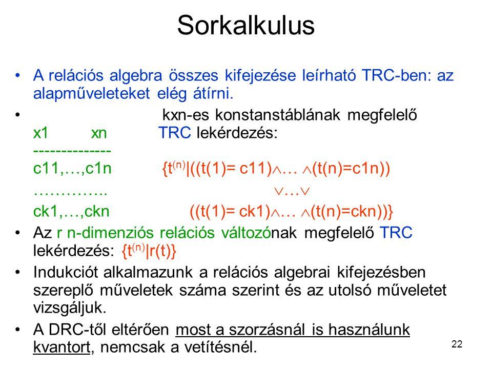 22 Sorkalkulus A relációs algebra összes kifejezése leírható TRC-ben: az alapműveleteket elég átírni.