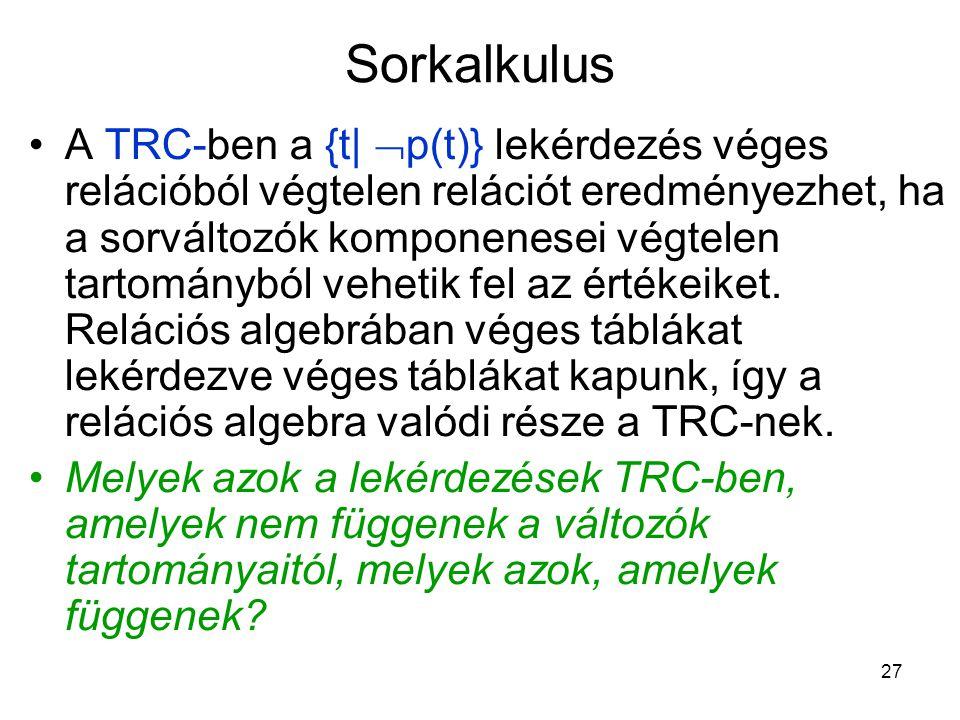 27 Sorkalkulus A TRC-ben a {t|  p(t)} lekérdezés véges relációból végtelen relációt eredményezhet, ha a sorváltozók komponenesei végtelen tartományból vehetik fel az értékeiket.