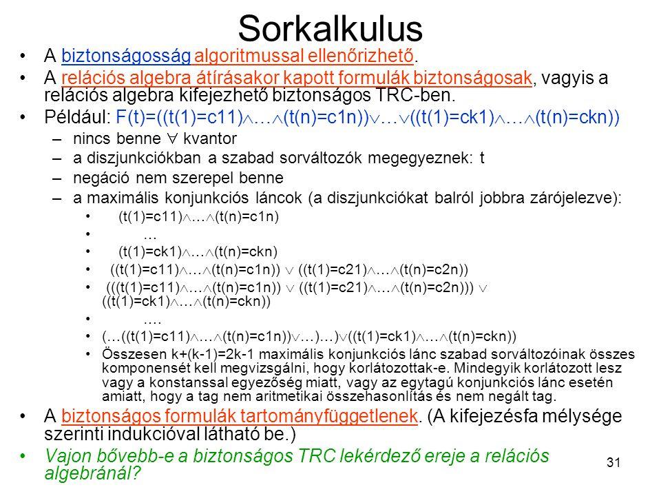 31 Sorkalkulus A biztonságosság algoritmussal ellenőrizhető.