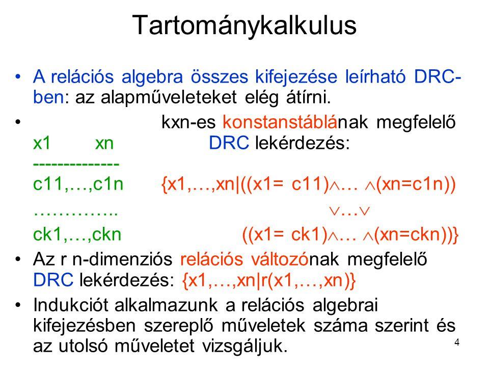 4 Tartománykalkulus A relációs algebra összes kifejezése leírható DRC- ben: az alapműveleteket elég átírni.