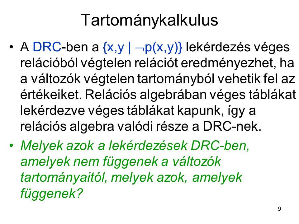 9 Tartománykalkulus A DRC-ben a {x,y |  p(x,y)} lekérdezés véges relációból végtelen relációt eredményezhet, ha a változók végtelen tartományból vehetik fel az értékeiket.