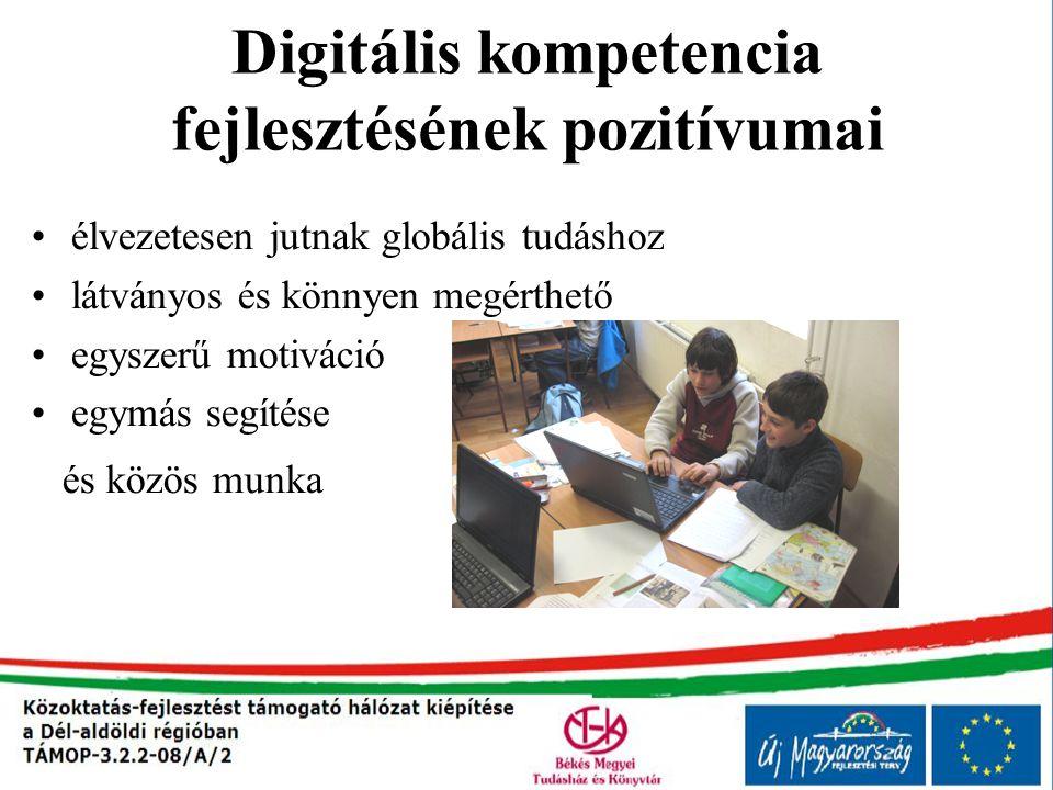 Digitális kompetencia fejlesztésének pozitívumai élvezetesen jutnak globális tudáshoz látványos és könnyen megérthető egyszerű motiváció egymás segíté